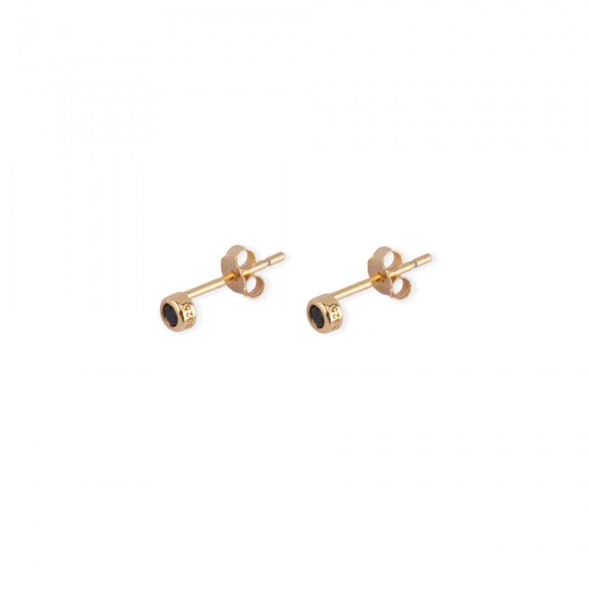 Golden earrings with stainless steel stone