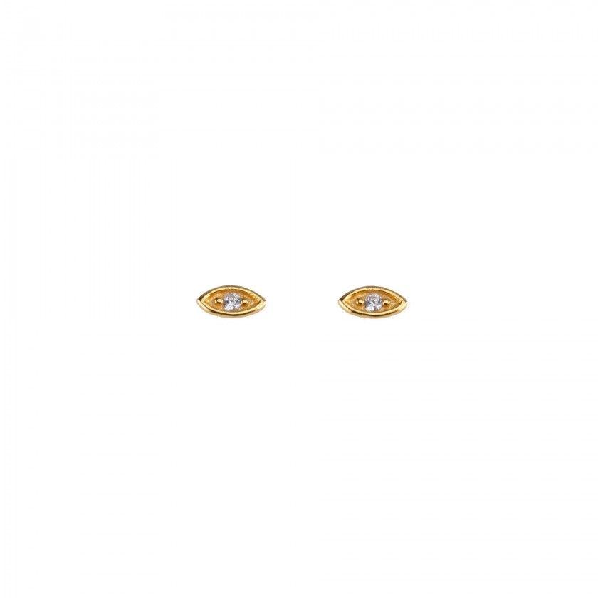 Brincos aço dourados olho branco