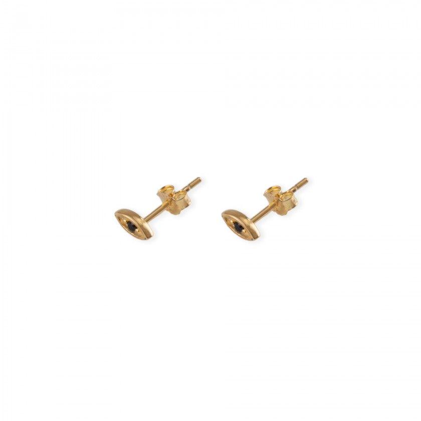 Golden stainless steel black eye earrings
