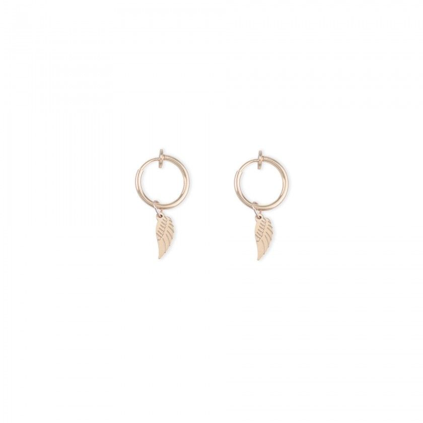 Golden hoop earrings with stainless steel wing pendant