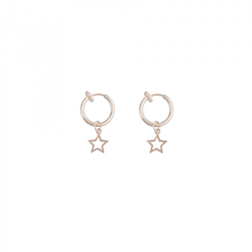 Golden hoop earrings with star pendant cut out of stainless steel