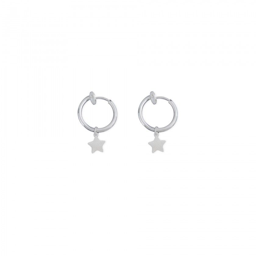 Silver hoop earrings with stainless steel star pendant