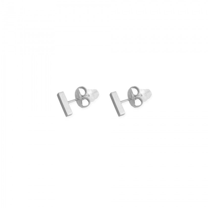 Silver bar earrings in stainless steel