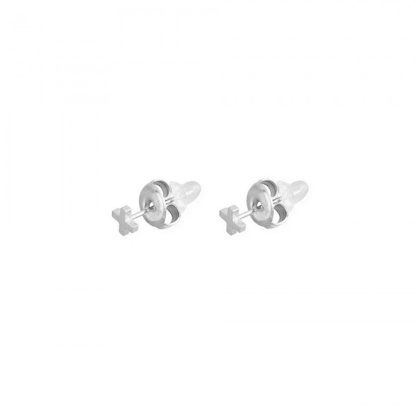 Silver cross stainless steel earrings