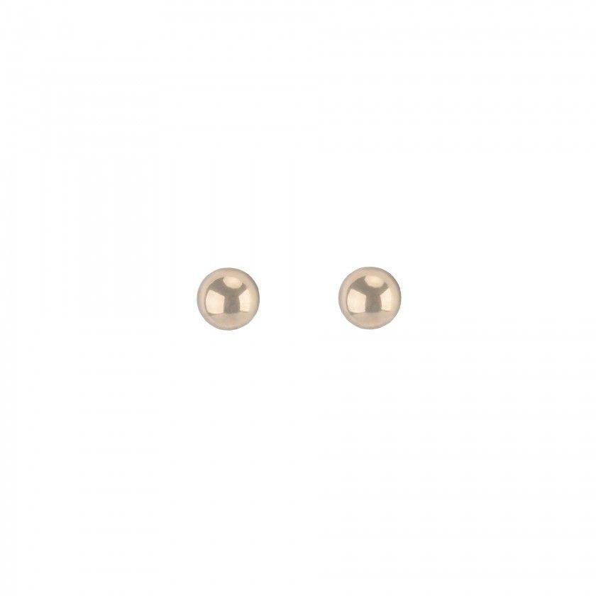 Brincos aço dourados bola grande