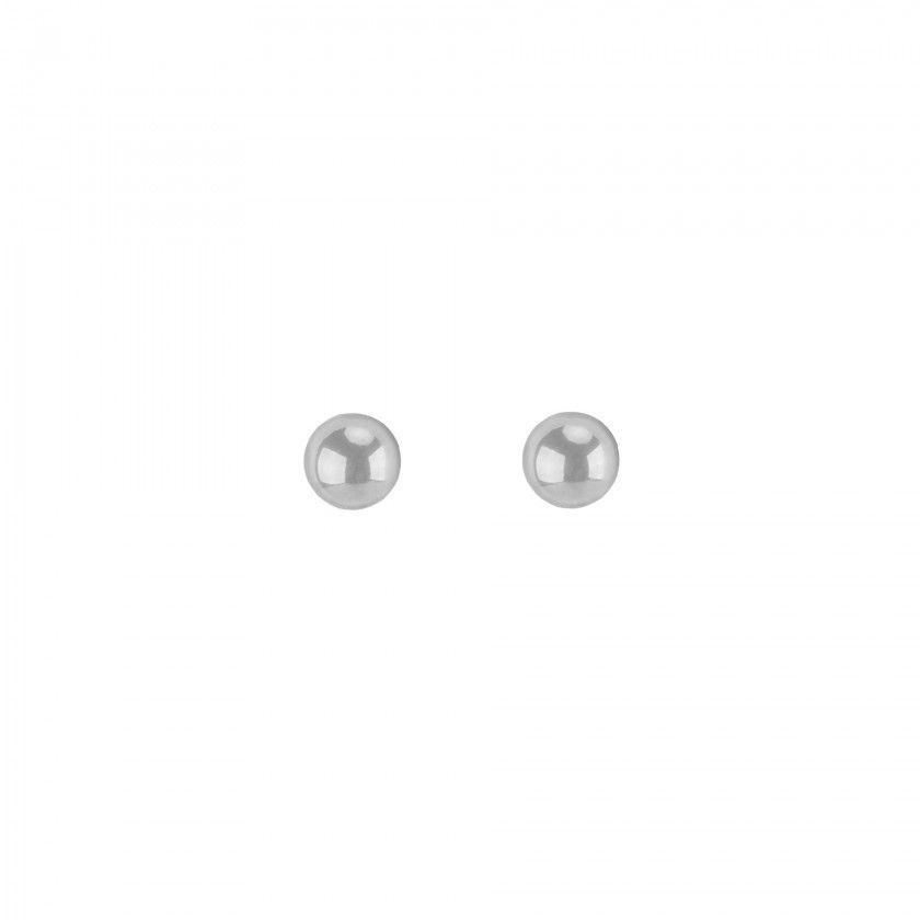 Brincos aço prateados bola grande