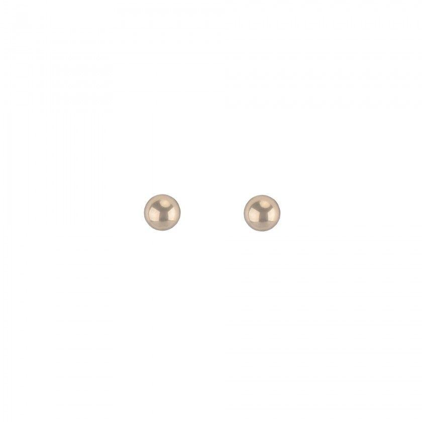 Golden earrings with medium stainless steel ball