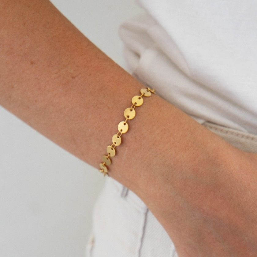 Stainless steel bracelet with golden plates