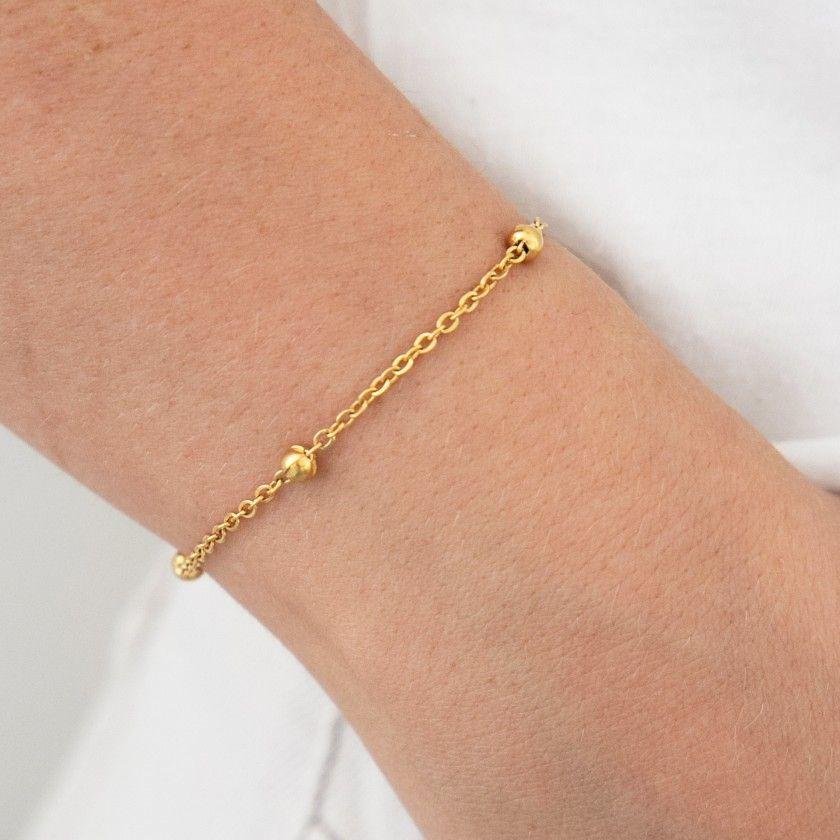 Golden stainless steel bracelet small beads