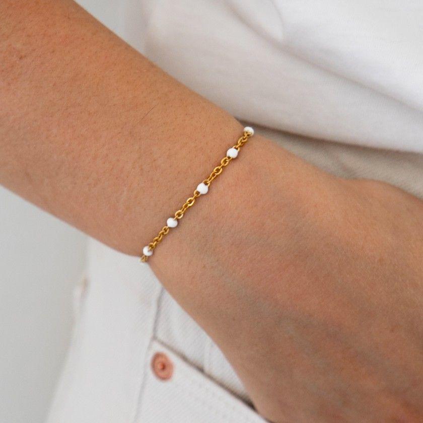 Bracelet with white stones in golden stainless steel