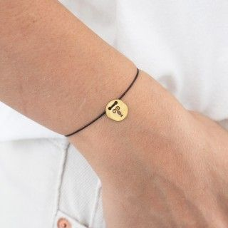 Cancer gold with cord bracelet
