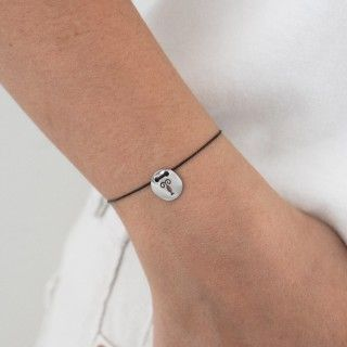 Aquarius silver with cord bracelet