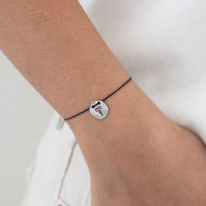 Gemini silver with cord bracelet