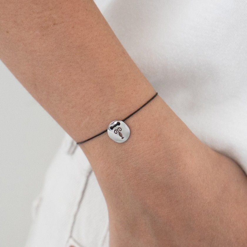 Scorpio silver with cord bracelet