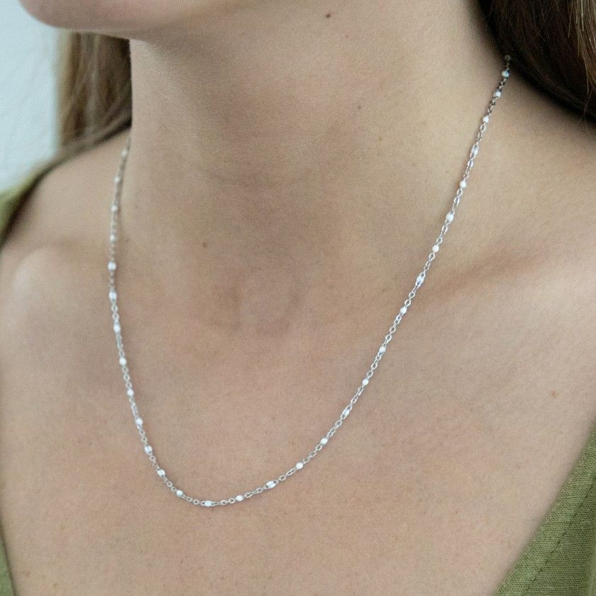Silver steel necklace with beads