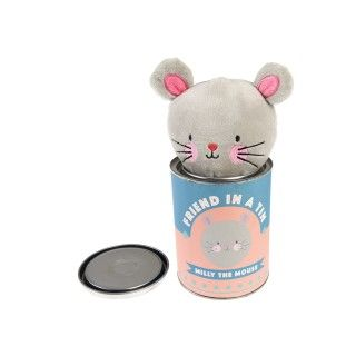 Milly the mouse friend in a tin