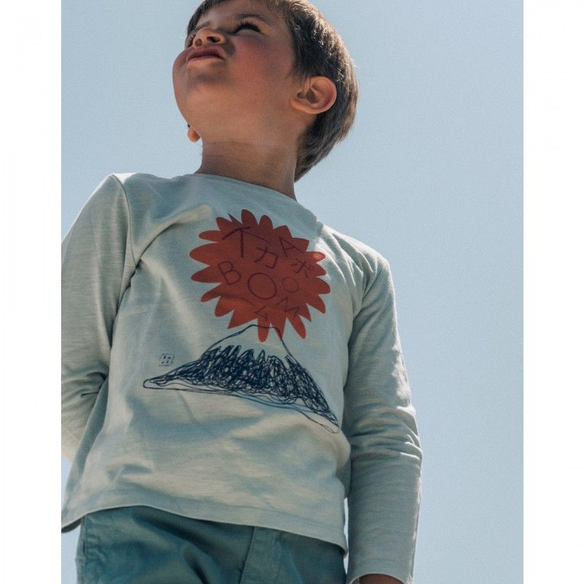 T-shirt manga comprida menino algodão orgânico Fuji