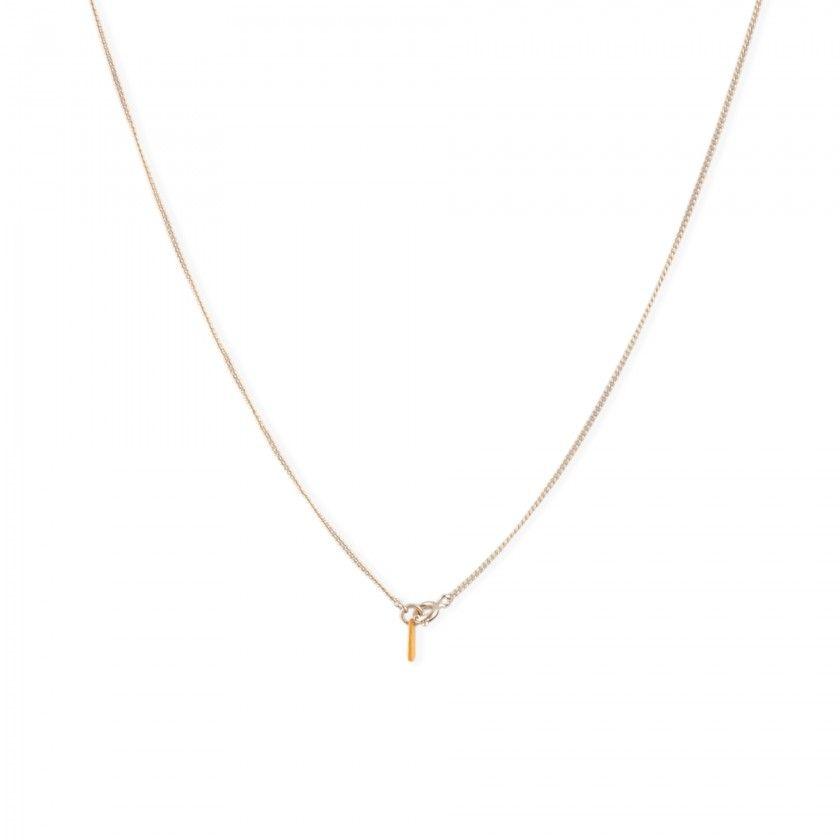Golden skull brass necklace