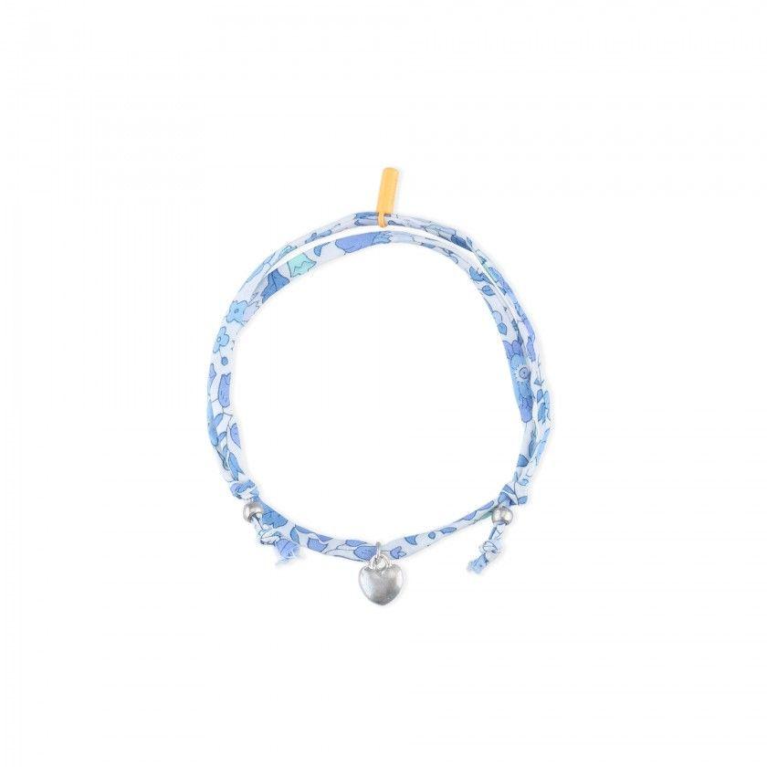 Fabric bracelet with heart pendant