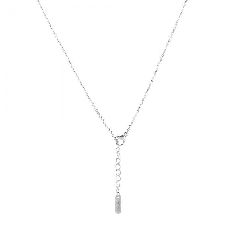 Silver steel letter E necklace