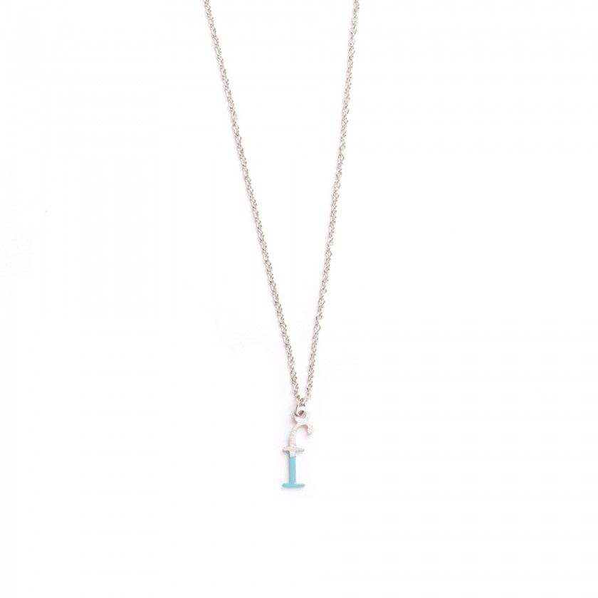 Silver steel letter f necklace