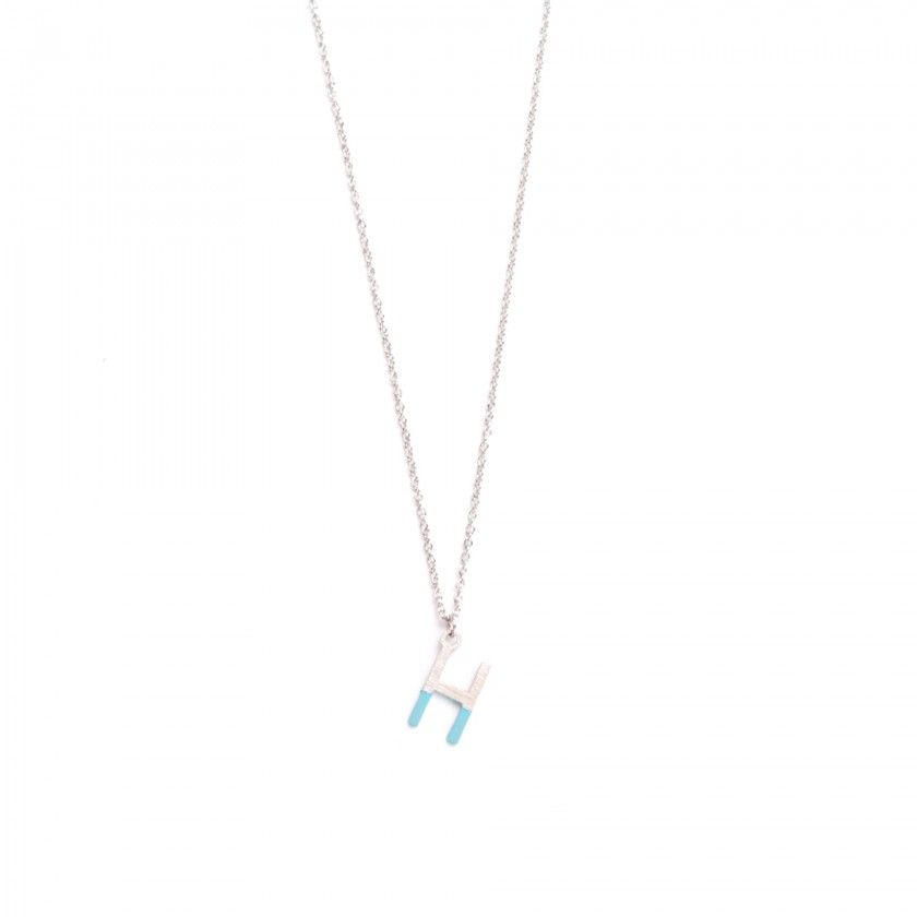 Silver steel letter H necklace