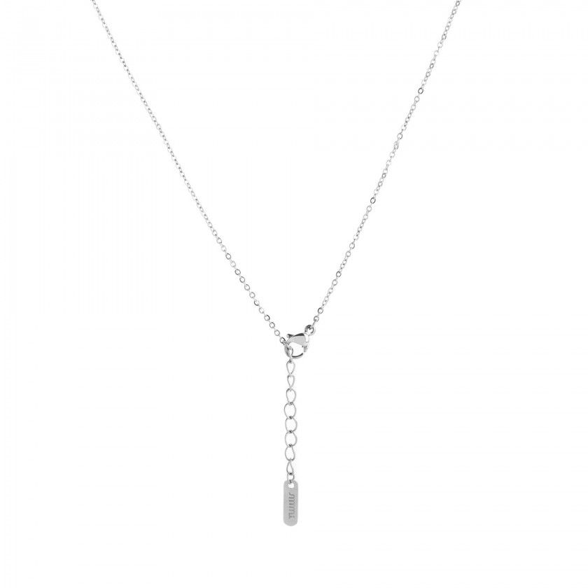 Silver steel letter O necklace