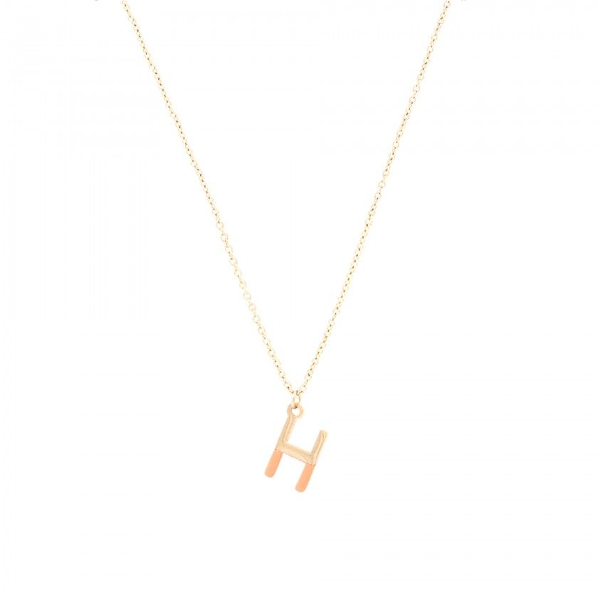 Gold steel letter H necklace