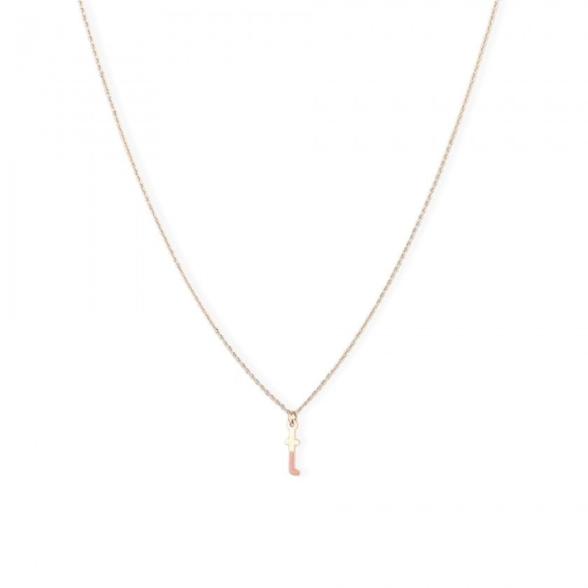Gold steel letter t necklace