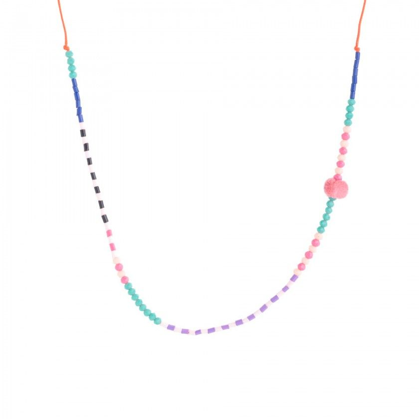 Cord necklace with colored beads and pompom
