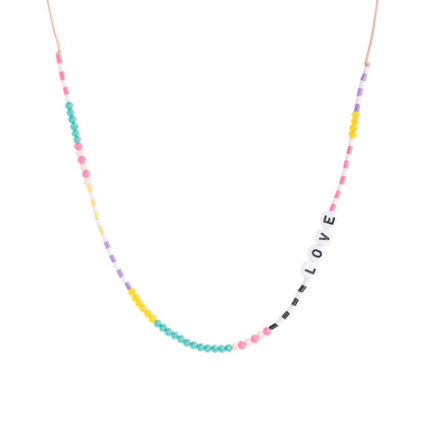 Bead necklace with LOVE beads and beads
