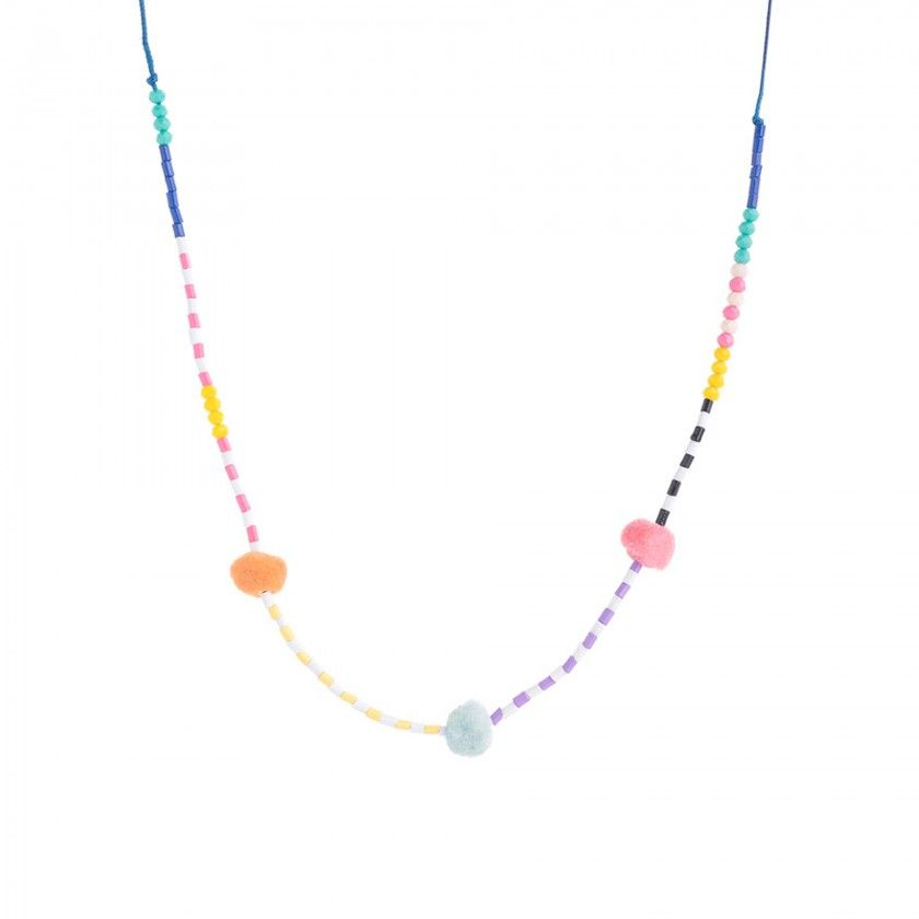 Cord necklace with colored beads and pompoms