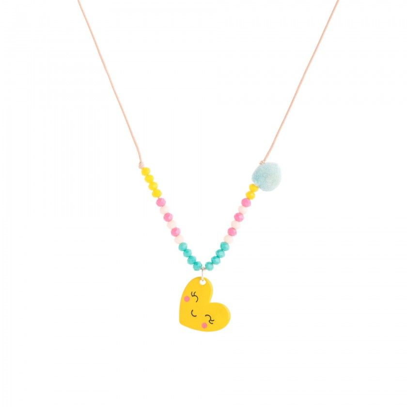Cord necklace with heart pendant and colored beads