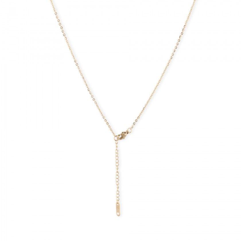 Golden leaf steel necklace