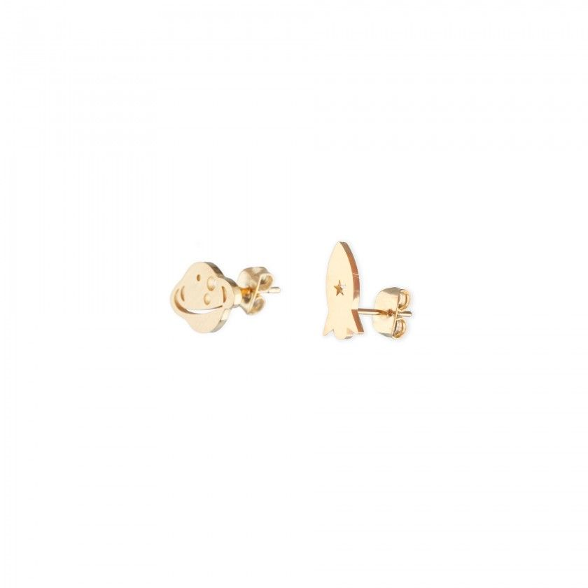 Golden steel rocket and planet earrings