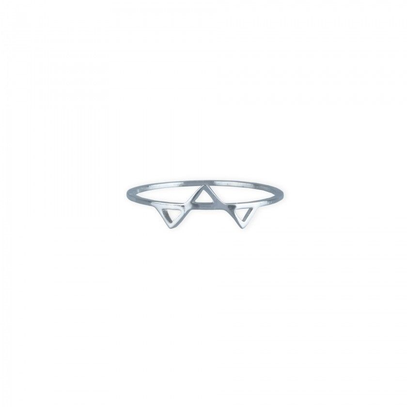 Silver triangle steel ring