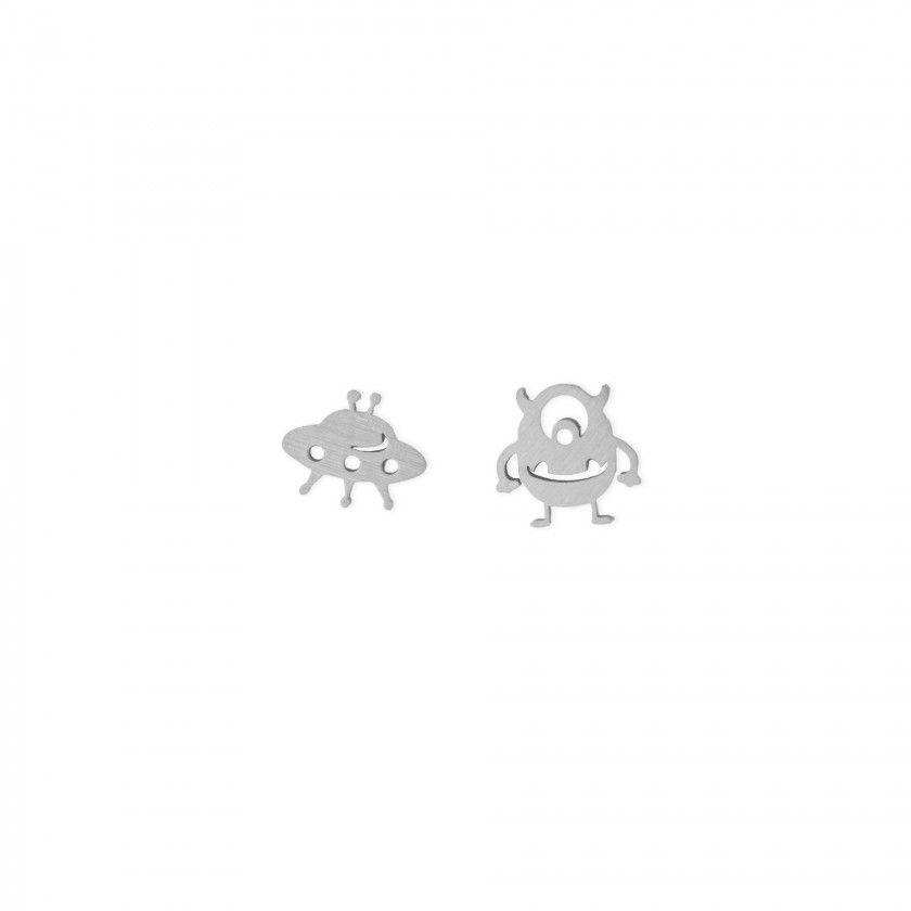 Silver UFO and alien steel earrings