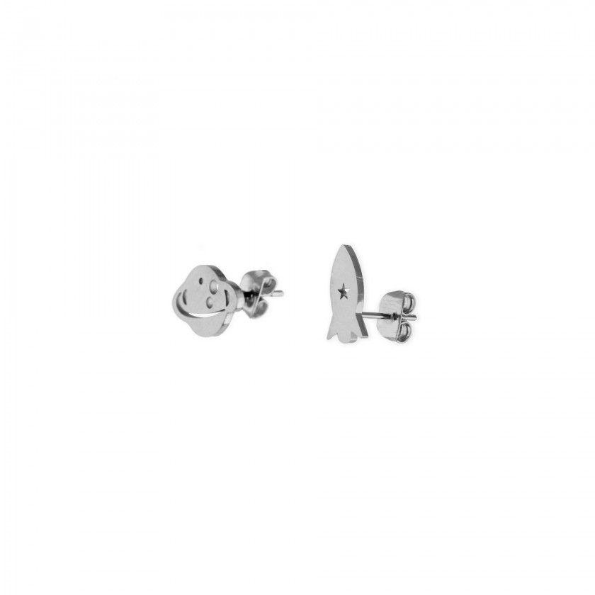 Silver steel rocket and planet earrings