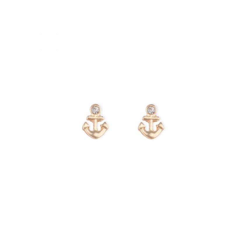 Golden anchor brass earrings