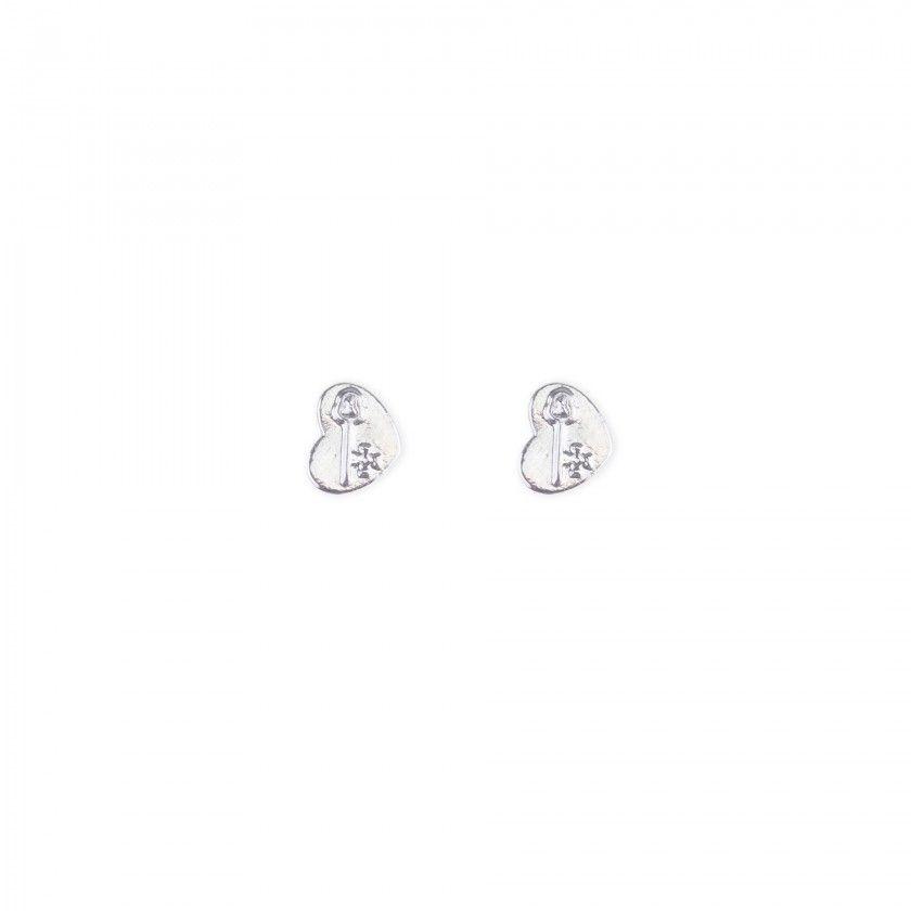 Brass heart earrings with silver key