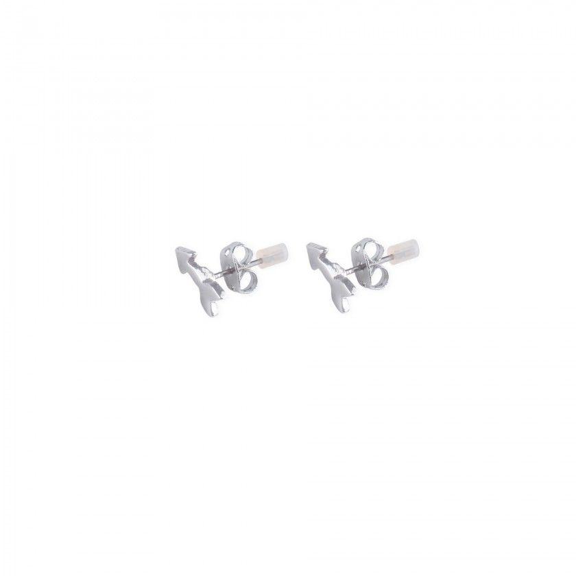 Silver arrow brass earrings