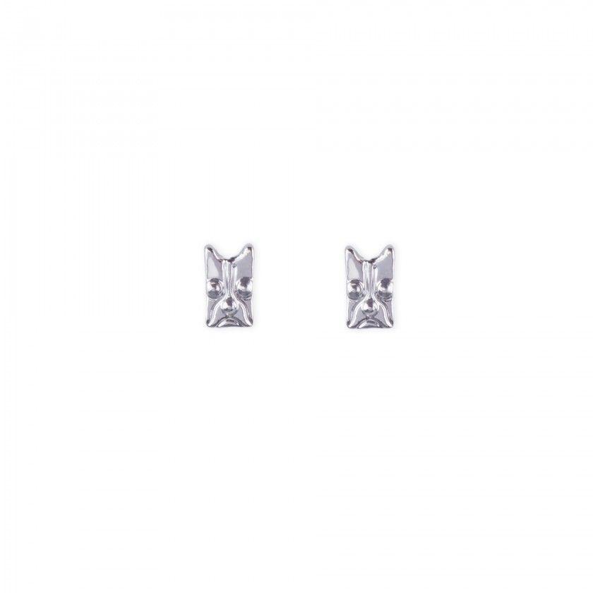 Silver mask brass earrings