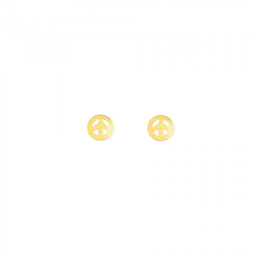 Brass yellow peace symbol earrings