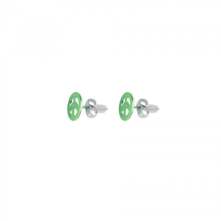 Brass green peace symbol earrings
