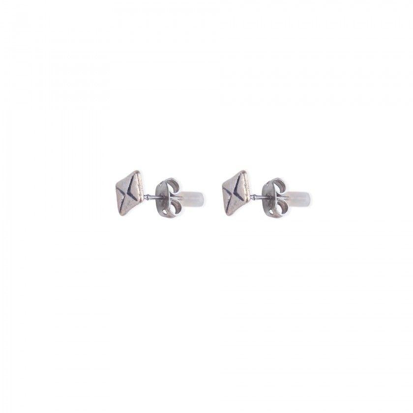 Silver letter brass earrings