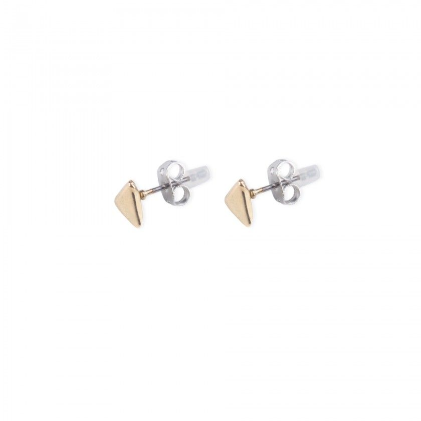 golden triangle brass earrings