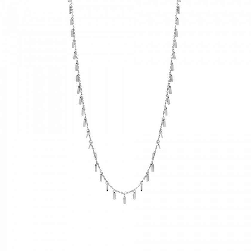 Silver steel necklace rectangles