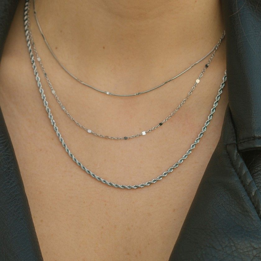 Silver steel necklace