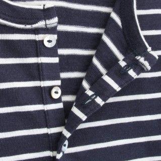 T-shirt manga comprida menino algodão orgânico Henley