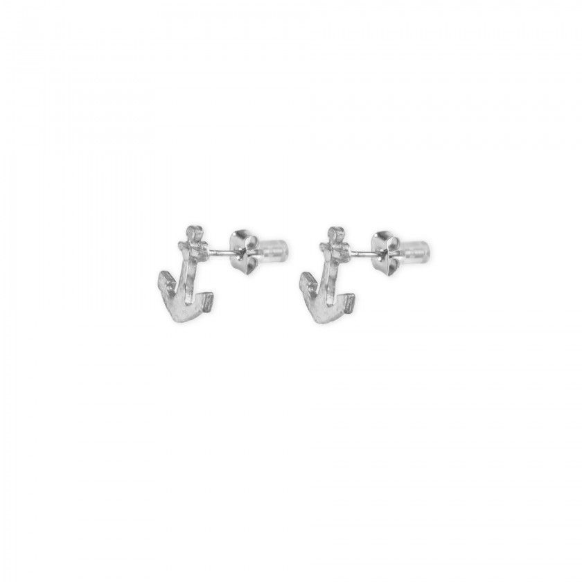 Silver anchor brass earrings
